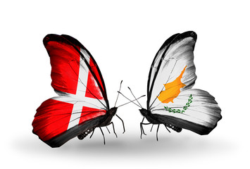 Two butterflies with flags Denmark and Cyprus