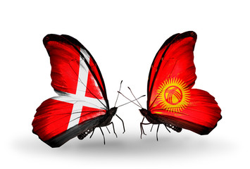 Two butterflies with flags Denmark and Kirghiz