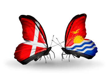 Two butterflies with flags Denmark and Kiribati