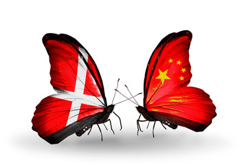 Two butterflies with flags Denmark and China