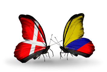Two butterflies with flags Denmark and Columbia