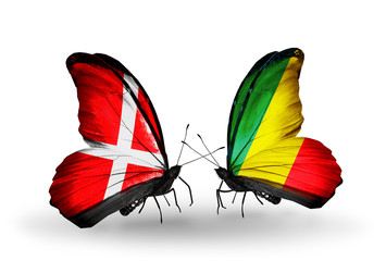 Two butterflies with flags Denmark and Kongo