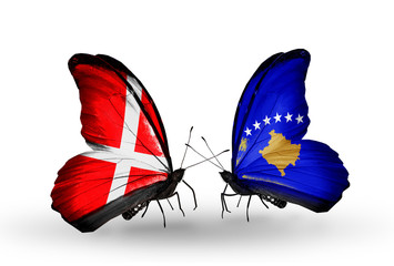 Two butterflies with flags Denmark and Kosovo