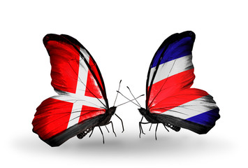 Two butterflies with flags Denmark and Costa Rica