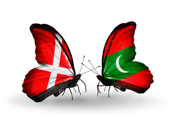 Two butterflies with flags Denmark and Maldives