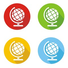 Iconos globo terráqueo botón colores