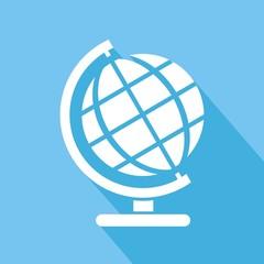Icono globo terráqueo azul sombra