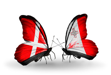 Two butterflies with flags Denmark and Malta