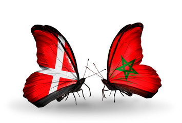 Two butterflies with flags Denmark and Morocco
