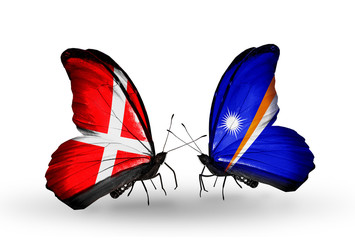 Two butterflies with flags Denmark and Marshall islands