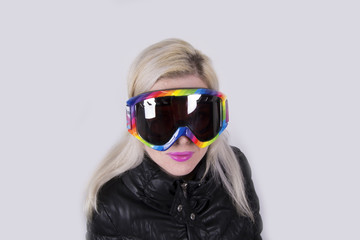 Blonde pretty Woman with ski goggles (winter, sport)