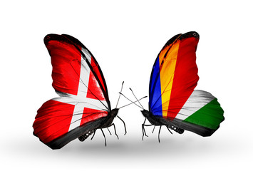 Two butterflies with flags Denmark and Seychelles