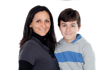 Brunette mother with his teenager son