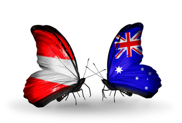 Two butterflies with flags Austria and Australia