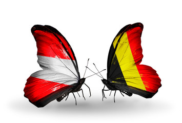 Two butterflies with flags Austria and Belgium