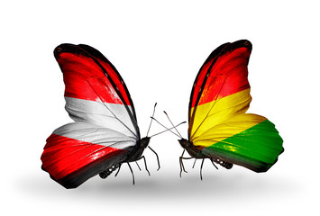 Two butterflies with flags Austria and Bolivia