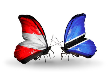 Two butterflies with flags Austria and Botswana