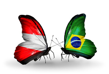 Two butterflies with flags Austria and Brazil