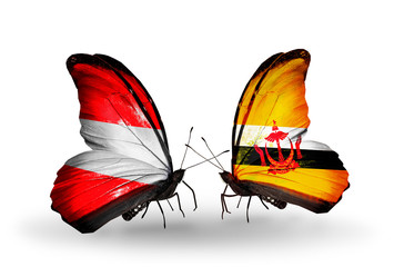 Two butterflies with flags Austria and Brunei