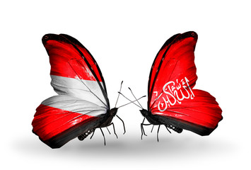 Two butterflies with flags Austria and Waziristan