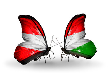 Two butterflies with flags Austria and Hungary