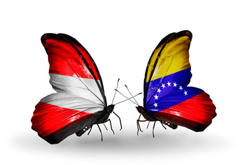 Two butterflies with flags Austria and Venezuela