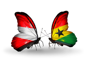 Two butterflies with flags Austria and Ghana
