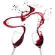 Quadro Red wine splash on white background