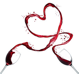 Red wine splash heart on white background