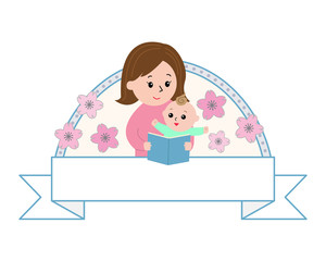 A woman reading to a baby ,flower background and white ribbon