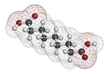 Azelaic acid (nonanedioic acid) molecule.