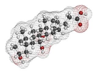 Bile acid (cholic acid, cholate) molecule.