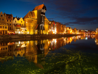 Gdansk Old Town and famous crane by night