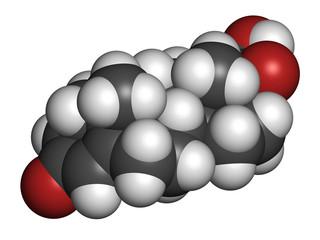 Deoxycorticosterone (DOC) mineralocorticoid hormone molecule.