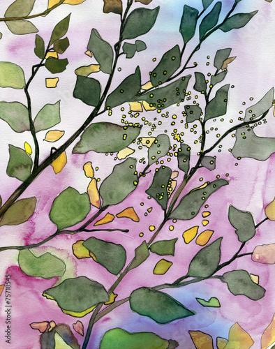 Yellow leaves original watercolor painting
