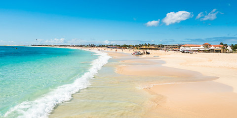 Panoramic view of Santa Maria beach in Sal Cape Verde - Cabo Ver