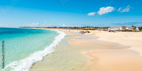 Papiers peints Autre Afrique Panoramic view of Santa Maria beach in Sal Cape Verde - Cabo Ver
