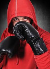 boxer in black gloves