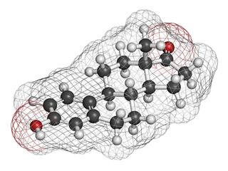 Estrone (oestrone) human estrogen hormone molecule.