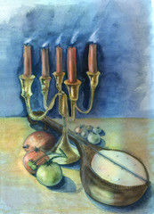 Candles and mandolin. Original watercolor painting