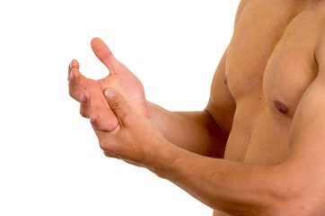 muscular shirtless man with hand pain