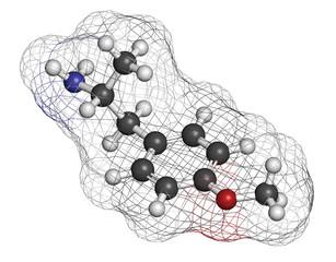 p-methoxyamphetamine (PMA) hallucinogenic drug molecule.