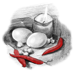Eggs red color peppers Pencil sketch black white