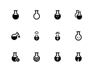 Flask icons on white background. Vector illustration.