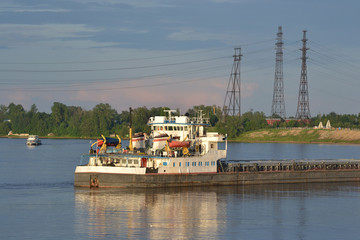 Cargo ship on the Neva river.
