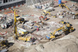 canvas print picture - Aerial View of Construction Site with Extreme Bokeh.