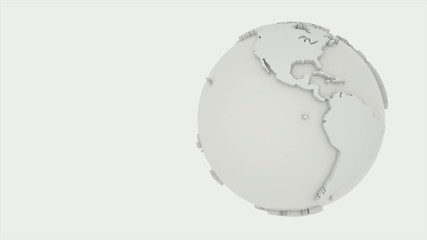 3D ANIMATED SIMPLE WORLD WHITE GLOBE