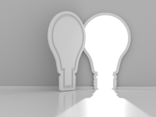 Light bulb shaped door with copyspace, 3d render