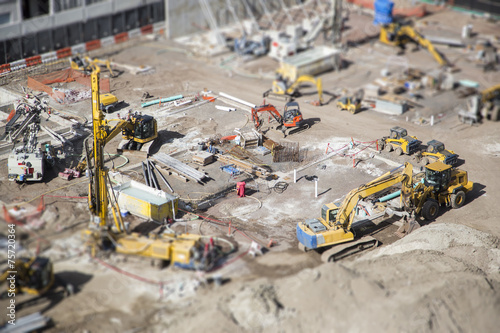 Poster Openbaar geb. Aerial View of Construction Site with Extreme Bokeh.