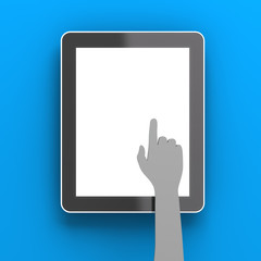 Paper hand clicking a digital tablet with copyspace, 3d render